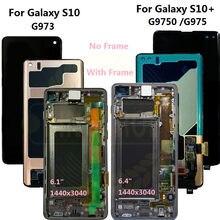 Nowy oryginalny AMOLED S10 LCD do SAMSUNG Galaxy S10 G973F/DS G973F G973 S10 Plus G975 G975F G975F/DS ekran dotykowy Digitizer