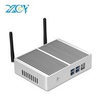 XCY X32 Bez Wentylatora Mini PC Intel Core i7 4510Y 5005U 4210Y i3 i5 Windows 10 TV BOX HDMI VGA 6 USB WiFi HTPC Barebone PC Desktop
