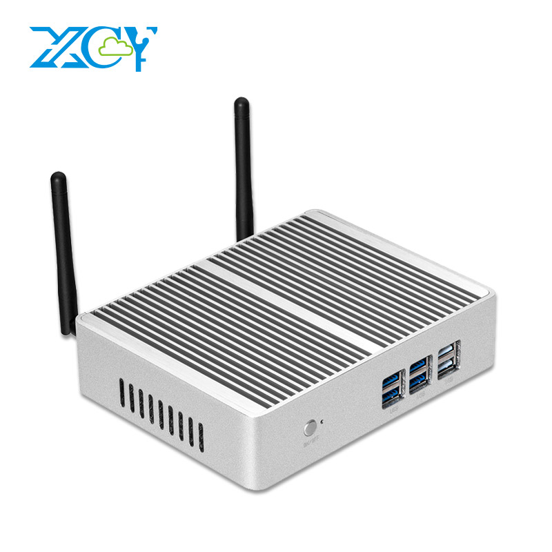 XCY X32 Fanless Mini PC Intel Core i7 4610Y i5 4210Y i3 5005U Windows 10 TV HDMI VGA 6 USB WiFi HTPC Barebone Desktop PC