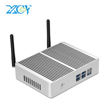 XCY sans ventilateur Mini PC Intel Core i7 4610Y i5 4200Y i3 4010Y DDR3L mSATA SSD HDMI VGA 6 * USB WiFi Gigabit LAN Windows 10 Linux HTPC