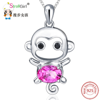 StrollGIRL 925 Sterling Silver Chain Pendant Necklace Fashion Jewelry Red CZ Lovely Monkey Necklaces Pendants For