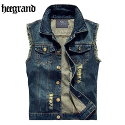 Hee grand men jeans vest punk style 2017 spring new fashion sleeveless denim jackets all match.jpg 250x250