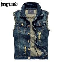Hee grand pria jeans rompi punk style 2017 musim semi baru busana tanpa  lengan denim jaket 2f0f661fcc