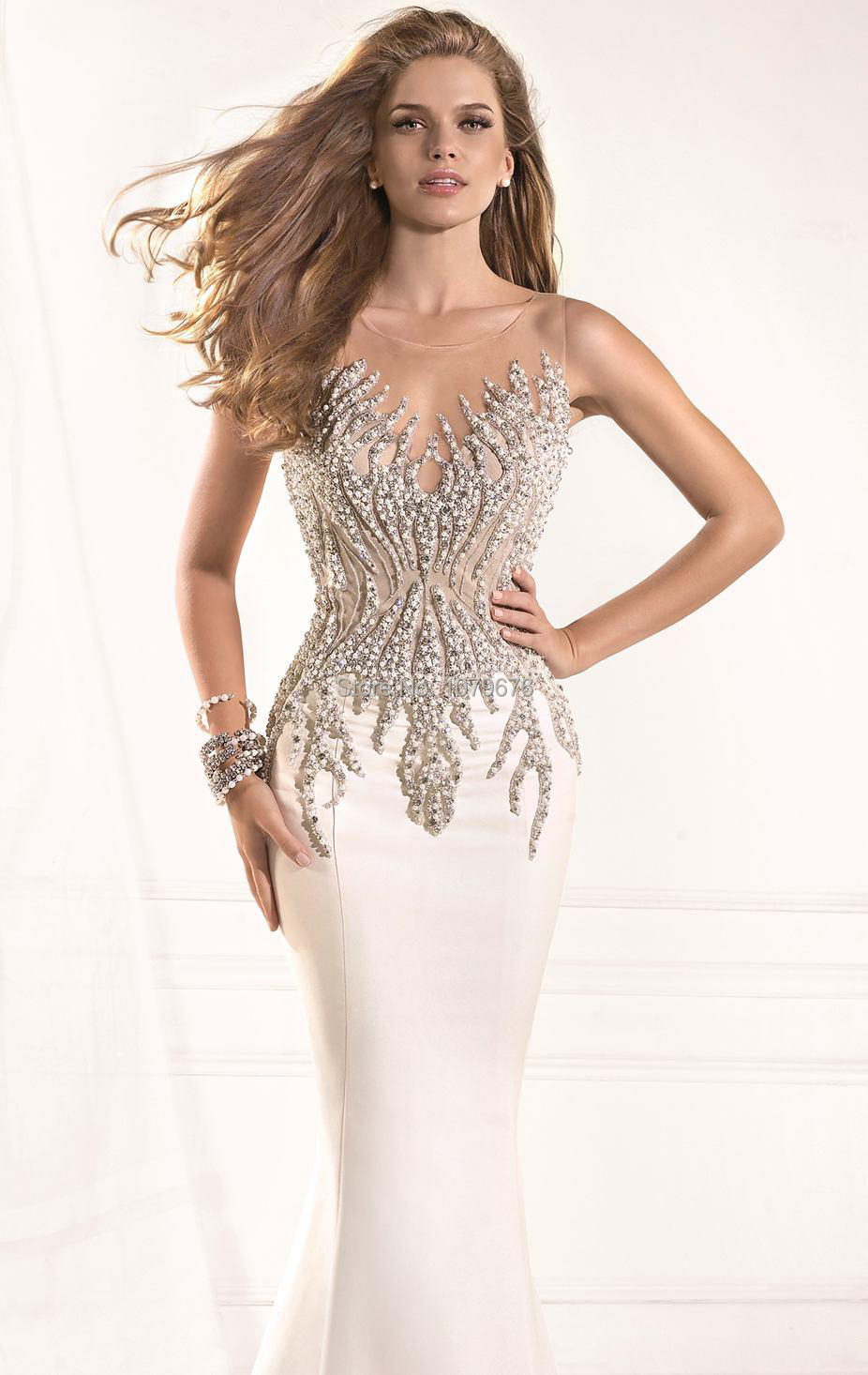 Stunning See Through Pearls Beaded Sexy Women Long Dress Formal