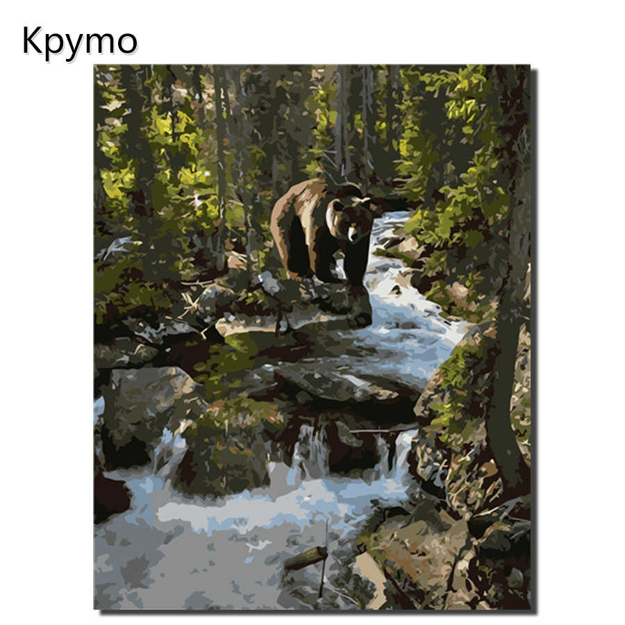 Kpymo oil painting by numbers hand painted canvas painting wall art home decor animal pictures Bear water falldiy ditigal paint