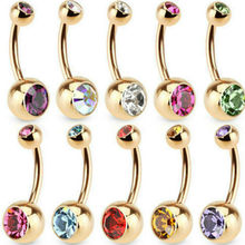 2019 New Sell Hot 1 Pc Unisex 9 Colors Charm Golden Crystal Ring Body Piercing Jewelry Navel Belly Button(China)