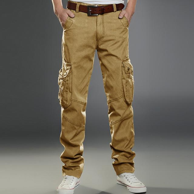 OSCN7 Pocket Plus Tamaño Ocio Pantalones Cargo de Los Hombres de Camuflaje Militar Estilo Outwear La Moda de Color Sólido de Alta Cintura Pantalones Cargo