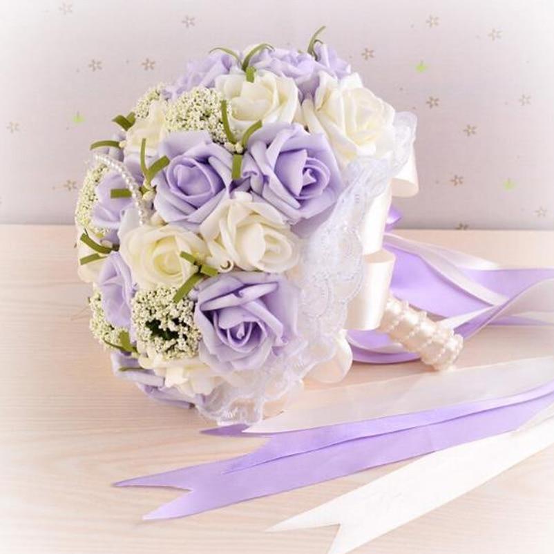 Mutiara Buatan Bunga Rose Bouquet Ungu Yang Indah Pernikahan Semua