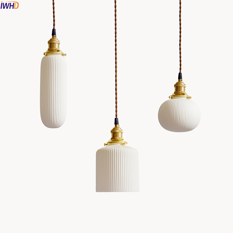 IWHD Japanese Style LED Pendant Lamp Living Room White Ceramics Nordic Modern Hanging Lights Home Indoor Lighting Luminaire