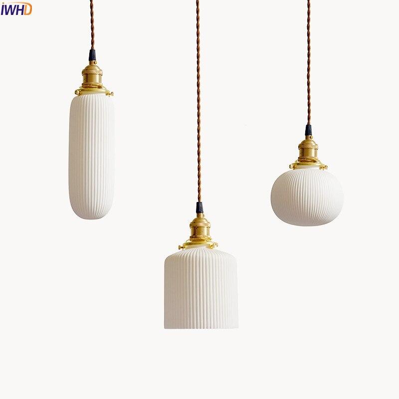Lampe à pendentif LED de Style japonais IWHD salon céramique blanche luminaires suspendus modernes nordiques Luminaire d'intérieur pour la maison