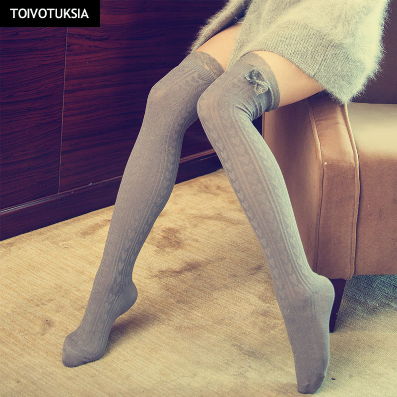 TOIVOTUKSIA Lace Sexy Thigh High Stockings for Women Bow Tie Medias Long Over the Knee Socks Full Cotton Vertical Pattern