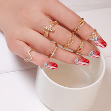 Best Quality 1 Set 7 pcs Women's Rhinestone Bowknot Knuckle Midi Mid Finger Tip Stacking Rings for Wedding Charming Rings 6SEG