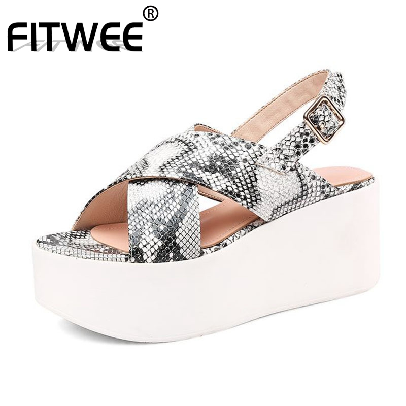 FITWEE Genuine Leather Women Sandals Fashion Platform Wedges Summer Shoes Holiday Beach Shoes Daily Street Footwear