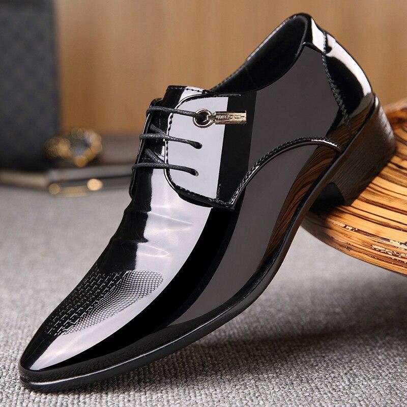 Homme grande taille décontracté noir bureau d'affaires robe formelle en cuir verni chaussures homme à lacets oxford chaussure homme sepatu pria