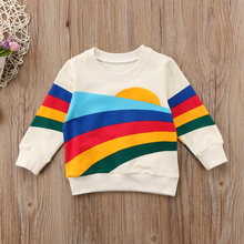 2018 Cute Baby Girls Kid Girls Clothes Long Sleeve Hoodie Rainbow Pullover Sweatshirt Tops cxcx(China)