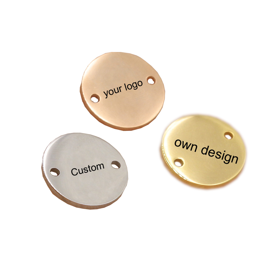 Stainless Steel Round Charm Custom Your Own Logo 15mm Two Hole Polish Mirror Surface Charms Connector