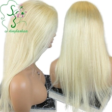 Silky Straight #613 Light Blonde Full Lace Wig Glueless Brazilian Virgin Human Hair Lace Front Wigs 130% Density Free Part