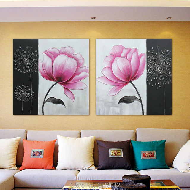 100 Fait Main Moderne Rose Peinture A L Huile Fleur De Lys Fleur