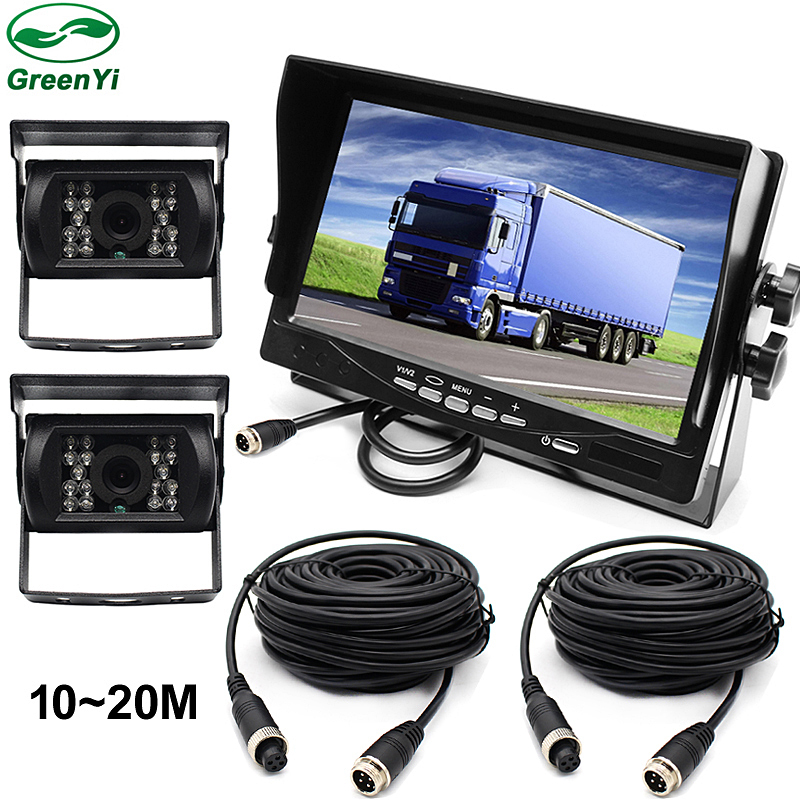 DC12~24V Truck Bus 7 Inch LCD Car Parking Monitor With Aviation joint 2 Ways Rear View Camera Video Input diysecur 4pin dc12v 24v 7 inch 4 split quad lcd screen display rear view video security monitor for car truck bus cctv camera
