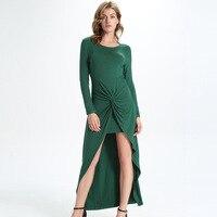 Womensdate nova chegada da primavera 2017 mulheres irregular dress o pescoço de manga comprida malha bodycon vestidos feminino verde atado vestido