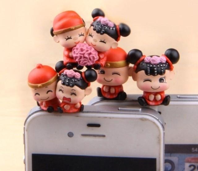 høj kvalitet kawaii kinesisk bryllup brudgom elskere anti støvstik til telefon søde ørestik hovedtelefoner cap
