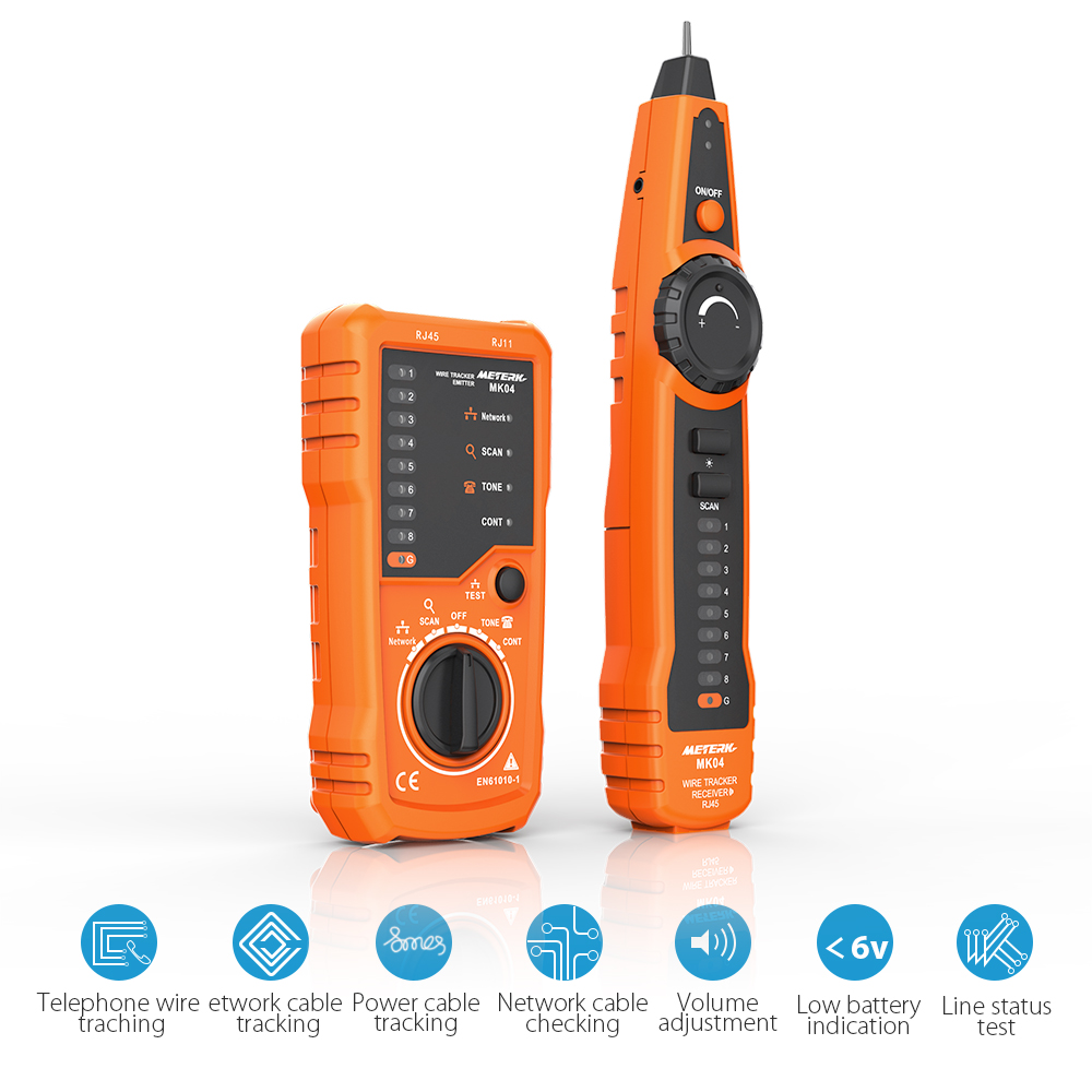 Meterk RJ11 RJ45 Cable Tester Handheld Line Finder Wire Tracker Cable Check Wire Measuring Instrument for Network Maintenance