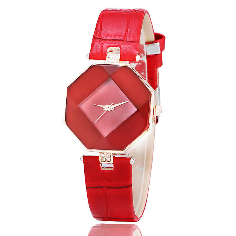 2019 New Fashion Irregular Shape Crystal Watch Women Bracelet Red Leather Strap Lady Watches Montre Wristwatches Clock Relogio