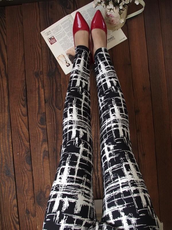 BIVIGAOS Spring Summer Womens Fashion Black Milk Thin Stretch leggings Colored Stars Graffiti Slim Skinny Leggings Pants Female 4