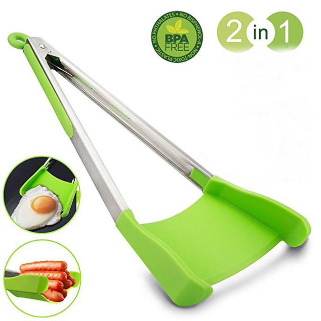 lever Tongs 2 in 1 Kitchen Spatula and Tongs Non Stick Heat ...