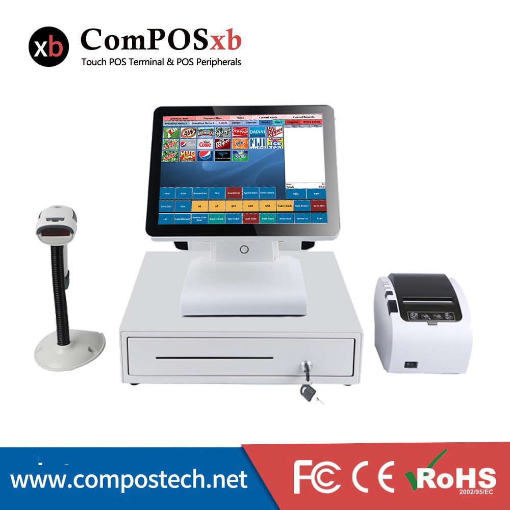 15 Inch Cashier Register All In One Pos Computer Pc For Shop J1900 DDRIII 4GB SSD 128GB