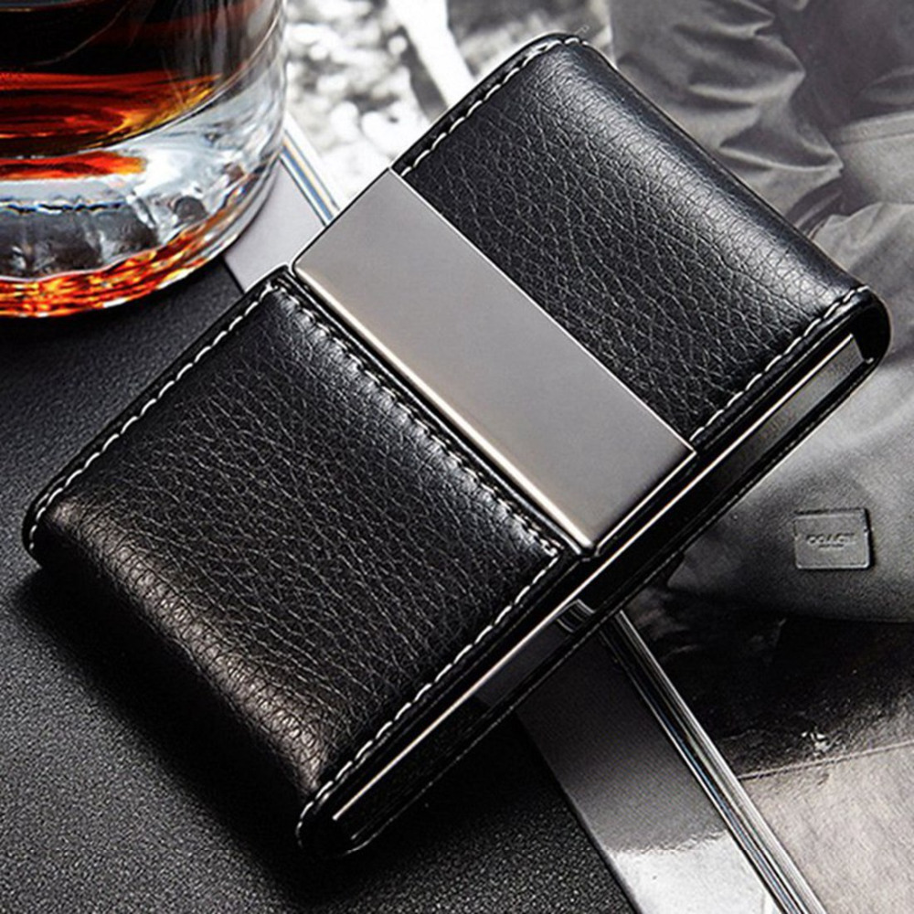 PU Leather Name Card Holder Business Passport Bag Travel Wallet Credit Card Holder Unisex Metal Wallet Box Visit Card Case bovis 5102 02 casual man s pu credit name card wallet slots coffee