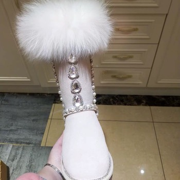 Handmade white Fox Fur Glitter Gem Rhinestone Snow Boots Flats Pearl String Crystal Winter Boots Girl's Plush Warm Knee Boots