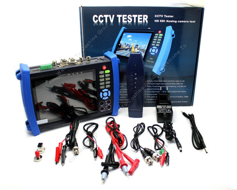 7 CCTV Camera Monitor Tester Multimeter+Optical Power Meter+Visual Locator+TDR Free shipping 7 ip camera cctv tester poe wifi dm optical power meter visual fault locator tdr sdi ipc 8600movts