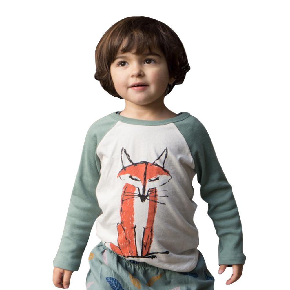 Toddler Baby T Shirt Boys Girls Infant Spring Autumn Cotton Long Sleeve Patchwork Fox T Shirt