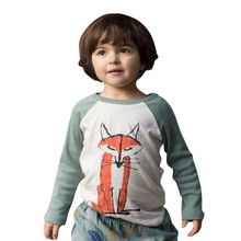 Toddler Baby T-Shirt Boys Girls Infant Spring Autumn Cotton Long Sleeve Patchwork Fox T-Shirt Tops Baby Clothing