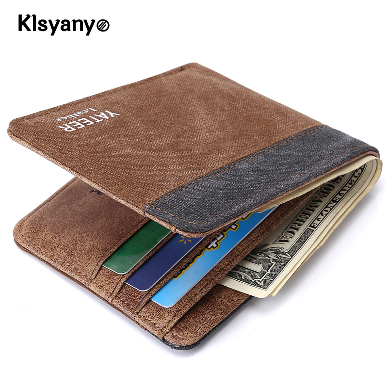 Klsyanyo Vintage Jeans Canvas Man/Women Wallet Purses neutral Money Bags Wallet Slim Small Card Purse Carteira