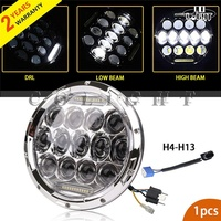 CO LIGHT 75W Hi Lo Beam H4 H13 7 Led Motorcycle Headlight Angel Eye DRL For
