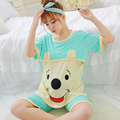 PINK/BLUE women 2017 new fashion nightgown for nursing lovely Cartoon breastfeeding pajamas casual tee with capris free shipping