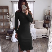 Solid Kintted Sexy Mid-calf Dress Casual Long Sleeve O Neck Sexy Side Split Bodycon Dress Women Elegant Autumn Basic Dress