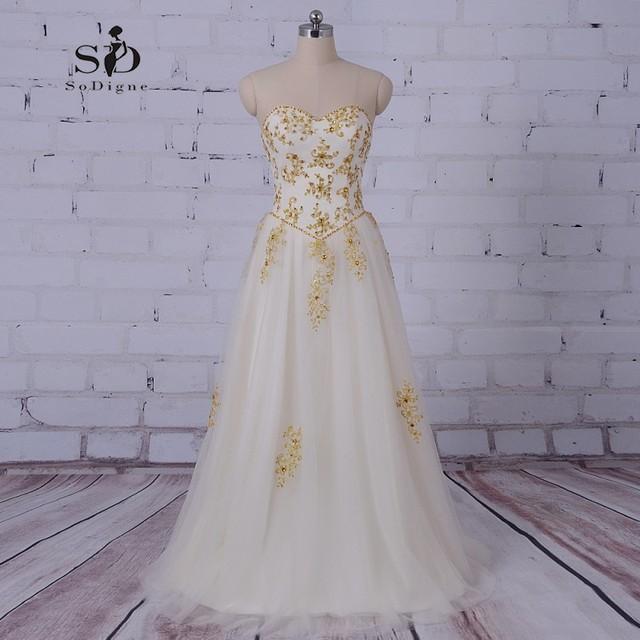 SoDigne Kleid Strand Hochzeit Plus Size Brautkleid Gold Perlen und ...