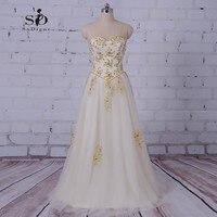 SoDigne Sukienka Beach Wedding Plus Rozmiar Sukni Ślubnej Złota Koralikami i Cekinami Koronkowe Aplikacje Lace-up Prawdziwe Zdjęcia Ślubne suknie