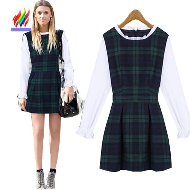 2017 Autumn Winter Basic Long Sleeve Fashion Cute Dresses For Juniors Sweet Korean Preppy Style Slim