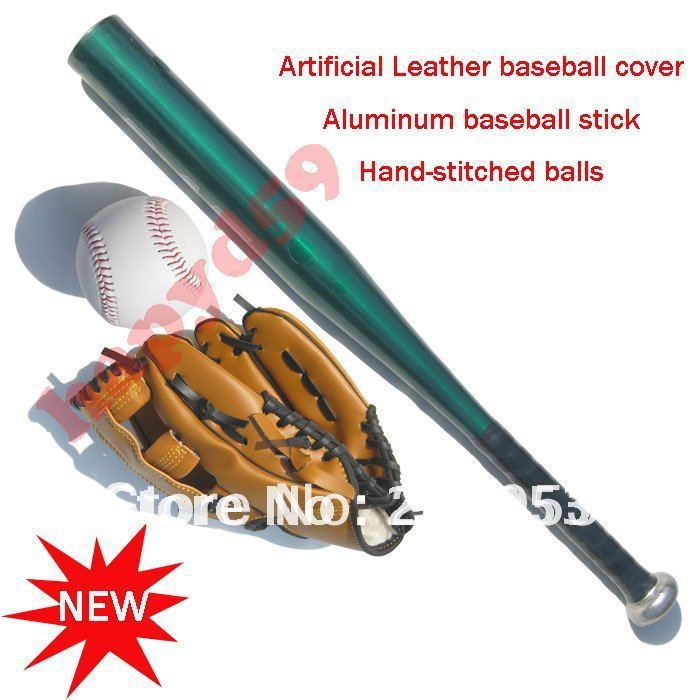 ФОТО 1 set free ship children gloves + baseball + Aluminum alloy baseball stick