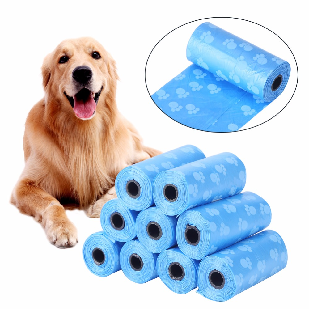 Hot Sale 10roll=150pcs Degradable Pet Dog Waste Poop Bag With Printing Doggy Bag Garbage Clean-up Bag Pick Up Bag