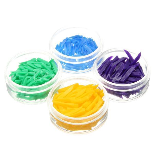 4 * 100 Stück Dental Einweg Diastema Kunststoff 4 Größen 400 Stück Wedges Lila Gelb Grün Blau