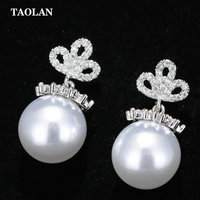 Hot Sale Pearl Ball Earring For Women Stud Earring Crown Crystal Zircon Imitation Pearl Earrings Wedding