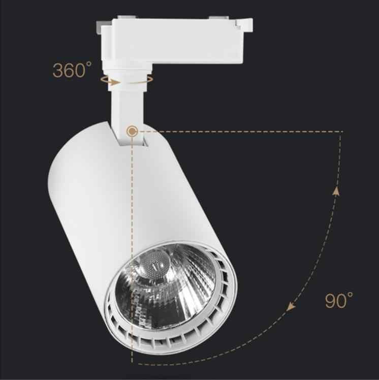 COB 12 Вт 20 Вт 30 Вт светодиодный Трек свет алюминиевые потолочные рельсы трек освещение точечные рельсы прожекторы Замена галогеновым лампам AC220V