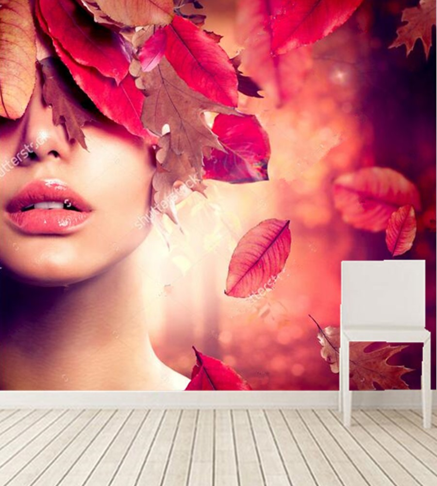 Custom 3d murals, Autumn girl fashion art painting wallpaper,hotel coffee shop living room sofa TV wall bedroom papel de parede custom 3d wall murals wallpaper luxury silk diamond home decoration wall art mural painting living room bedroom papel de parede