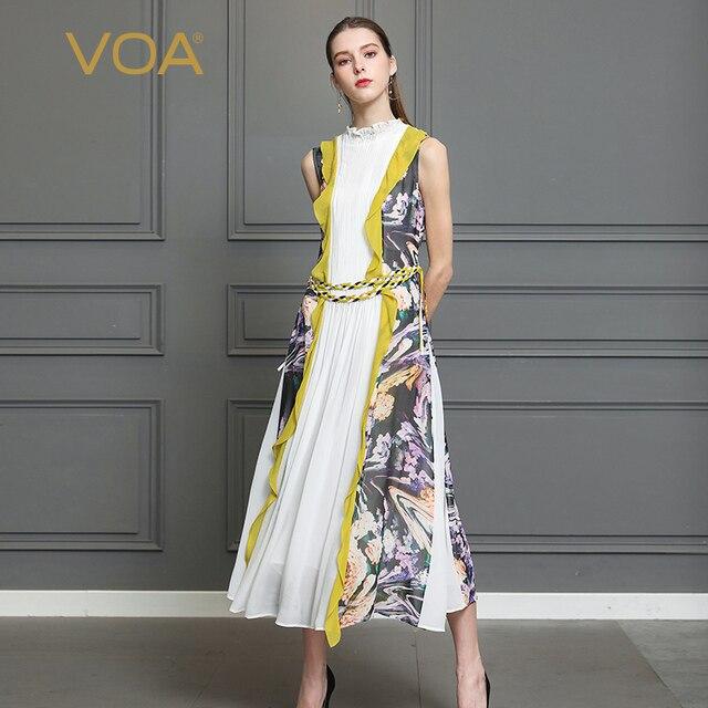 82ab1ea3746 VOA Silk Georgette Pleated Long Dress Women Plus Size 5XL Romance Print  Boho Sleeveless Belt Ruffles Slim Casual Cute A350