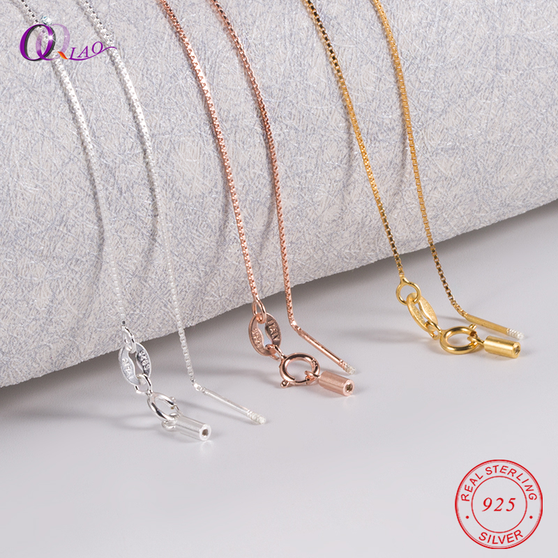 40cm(16inch) 45cm(18inch) Fashion 925 Sterling Silver Jewelry Spiral Box Chain Cross Beading Chain For Women Necklace Jewelry